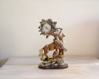 Vintage Horse Clock, Woodland Desk Mantle Clock, Mid Century Rustic Decor, Retro Shelf Clock, Art Nouveau Fireplace Clock, Rococo Home Decor