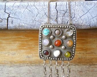Up cycled vintage Necklace, Gemstones BOHO pendant Necklace