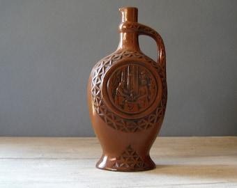 Vintage Brown flask, Brown Ceramic Jug, vase, work shop, wine bottle, folk art