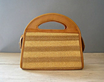 Wooven Straw Handbag Purse, Vintage Mustard Woman Day Bag , Hipster Urban Fashion Bag, Stripes Raffia Tote, Women Shoulder Bag Faux Leather