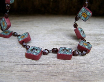 90s Flower Tiles Necklace Polymer Clay, Beaded Choker Vintage Square Chain, Burgundy Turquoise Flower Mosaic Tile Necklace, Hipster Jewelry