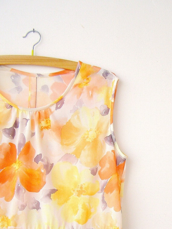 Summer Flowers dress, summer flowers in orange, yellow and  purple flowers, big size Dress, Listed by MeshuMaSH on Etsy