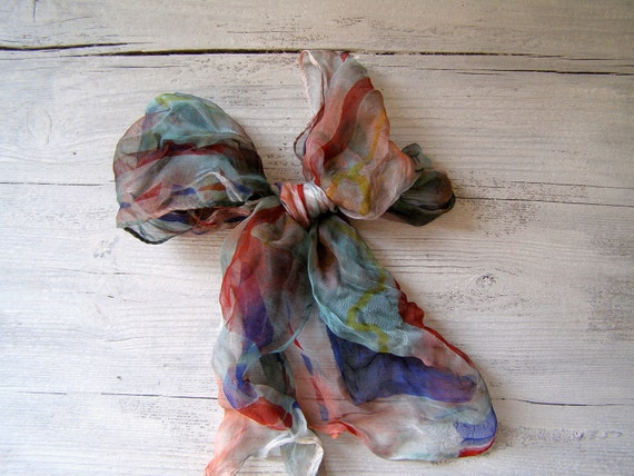 Vintage colorful Scarf listed by MeshuMaSH on Etsy