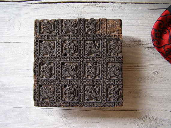 Vintage fabric Stamp, Vintage handmade wood stamp from India