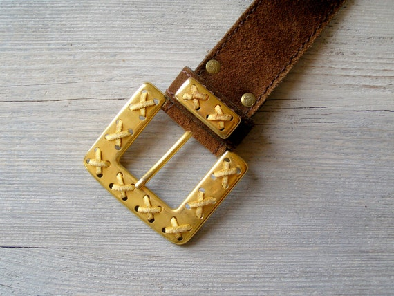 Vintage Gold Bold Buckle Brown suede Belt, Unisex Bold Thick Western Chunky Belt, Cowboy rustic Retro Accessories Distressed Men women Belt