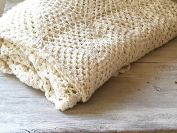 Crochet Bed Cover, Shabby chic knitted bed cover,  Vintage granny double bed cover