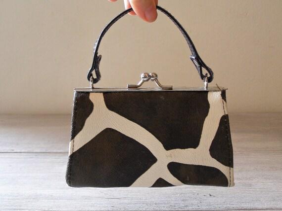 Vintage Black Handbag, Zebra pattern small handbag