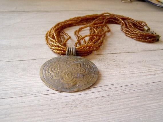 Vintage Boho Necklace, Chunky Brown Oriental Necklace, Pendant Necklace