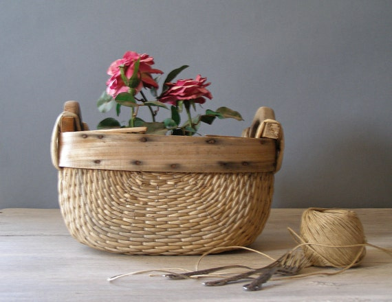 Vintage Rustic Basket, wood and reeds farmhouse Basket, rustic planter
