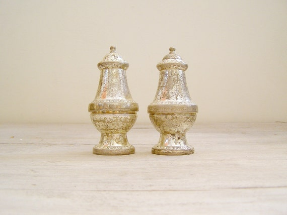 Vintage Salt and Pepper shakers, Zinc Victorian tableware, kitchen ware
