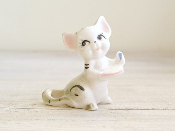 Porcelain Cat Figurine, Vintage Miniature cat, kids room decor, gift for kids, collectible animal miniature