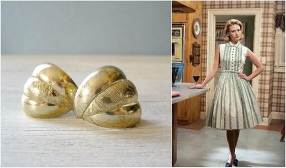 Golden Shell Earrings, Retro Seashells golden stud earrings