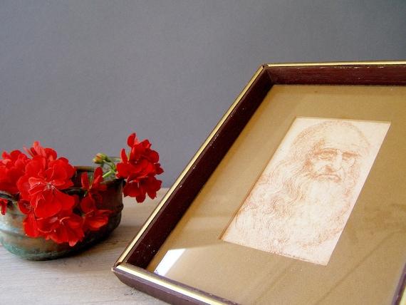 Leonardo Da-Vinci framed pictures, Vintage Renaissance Man drawing print