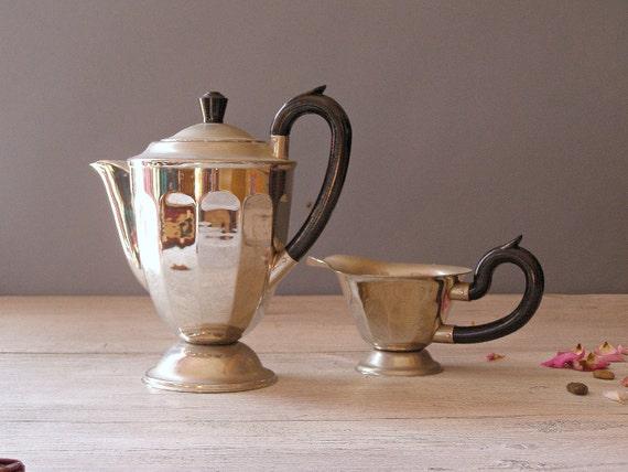 Tea Serving Set, Vintage Teapot and Cream Pitcher
