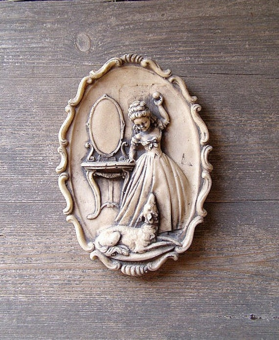 Vintage Victorian Girl with a dog, Oval picture, girls room, antique like, autumn decoration, Vanity desk,  Christmas gify
