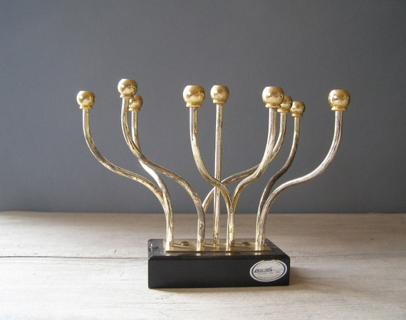 Vintage Dynamic Candelabra, Gold and silver plated Hannukah Menorah, Jewish, Judaism, rotating abstract  Candelabra, Holiday