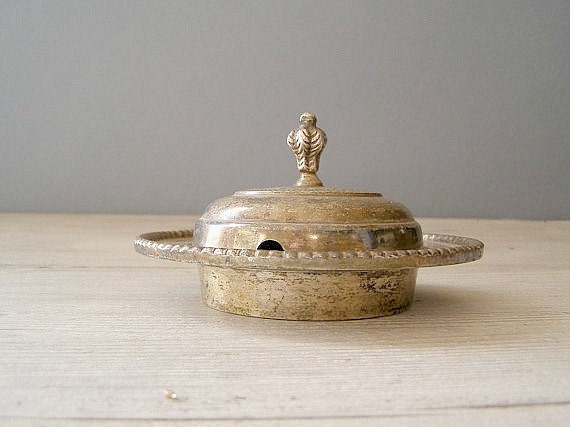 Vintage serving dish, Silver plated Caviar dish