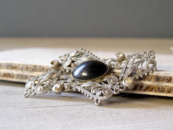 Vintage Silver Black Brooch, Antique Brooch