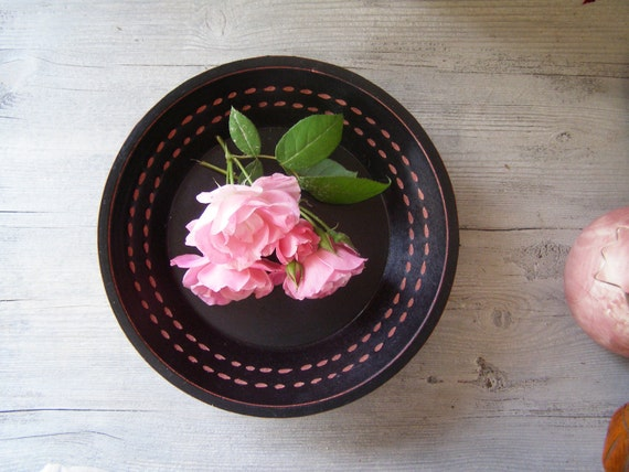 Black wood Bowl, Minimal retro design, black and pink, cottage chic, zen home decor, vintage Autumn, winter home decor, Christmas gift