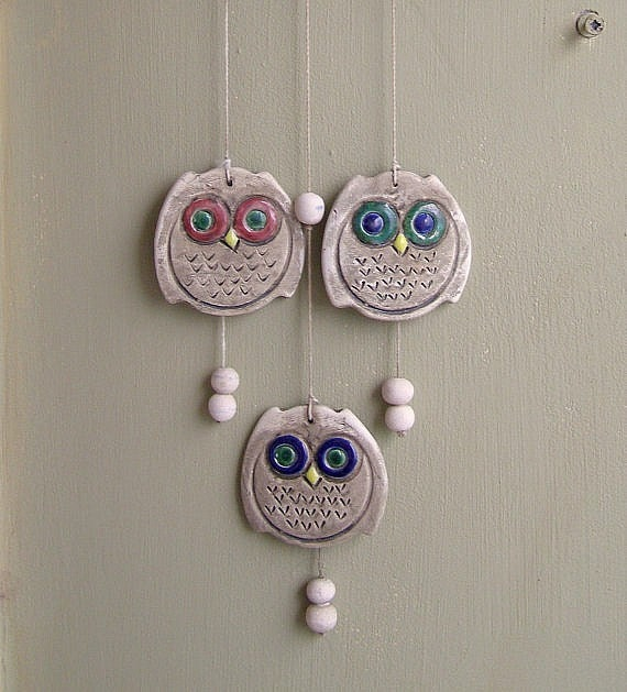Owls wind bell, Vintage ceramic and wood wind bell
