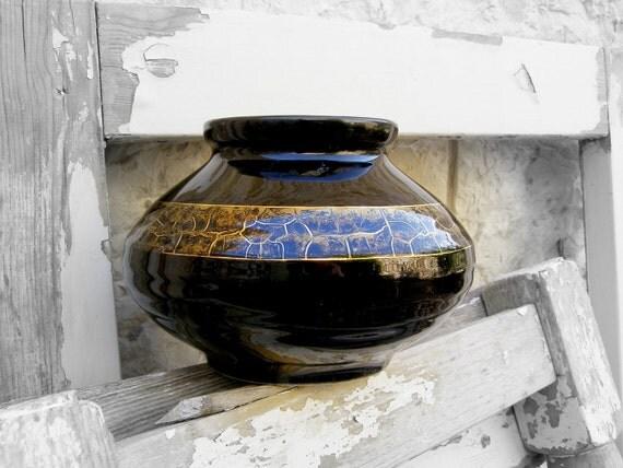 Vintage Black Vase, Black wide vase with golden trim, ceramic vase