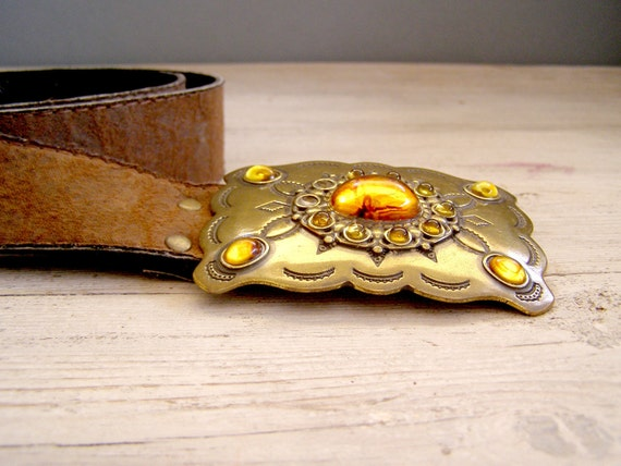 Vintage Rustic Belt, Boho chic, cowgirl style, brown Suede belt