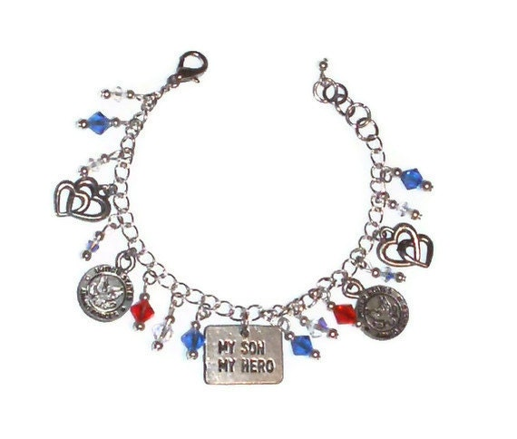 US Military / Fourth of July: My Son, My Hero Charm Bracelet - Adjustable Length w/ Top Quality Pewter Charms