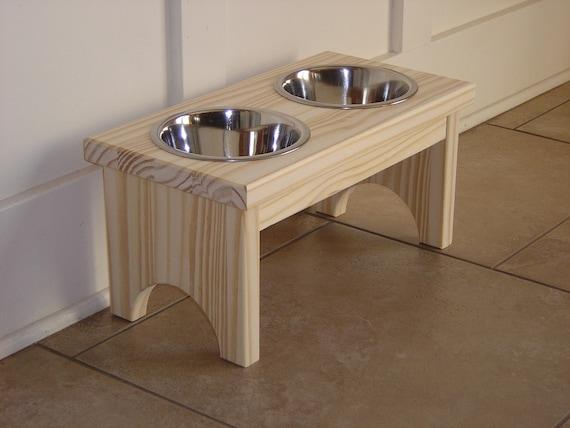 UNFINISHED PINE raised 1 quart pet feeder dog bowl
