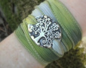 Silk Ribbon Wrap Bracelet - Tree of Life Bracelet - Silvan Tree - Artisan Handcrafted Recycled Fine Silver- Silver & Silk Wrap Bracelet