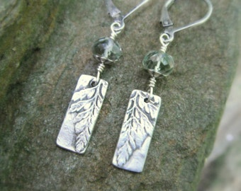 Woodland Fern and Green Amethyst Botanical Earrings - Made with Real Leaves - Silvan Leaves - Handcrafted with Recycled Fine Silver