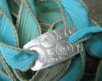 Silk Ribbon Bracelet- Silver & Silk Wrap Bracelet- Boho Wrap Bracelet- Spirals- Artisan Handcrafted with Recycled Silver and Hand Dyed Silk