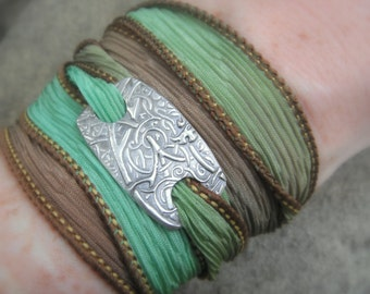 Silk Wrap Bracelet- Vines- Silver & Silk Wrap Bracelet- Artisan Handcrafted with Recycled Silver and Hand Dyed Silk