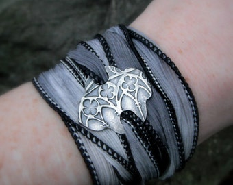 Medieval Bracelet- Cathedral- Silver & Silk Wrap Bracelet- Artisan Handcrafted with Recycled Silver and Hand Dyed Silk
