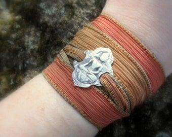 Buddha Jewelry, Yoga Jewelry, Silk Wrap Bracelet- Artisan Handcrafted Recycled Fine Silver