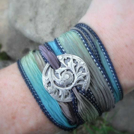 Silk Ribbon Wrap Bracelet- Antique Fern- Silk Wrap Bracelet- Artisan Handcrafted- Recycled Fine Silver