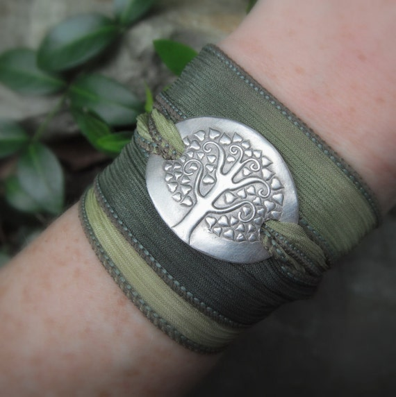 Silk Ribbon Wrap Bracelet- Tree of Life Bracelet- Silver & Silk Wrap Bracelet- Artisan Handcrafted with Recycled Silver and Hand Dyed Silk