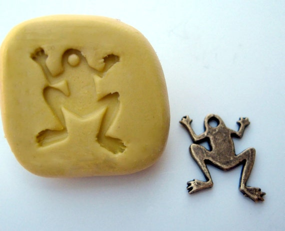 MINI mold Small frog with bail hole -  non-toxic flexible silicone mold/  mould