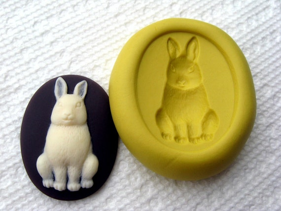 Rabbit cameo Food Quality Flexible Silicone Silicon Push Mold Mould for fondant, cake decor, kawaii, resin, scrapbooking, wax, soap making