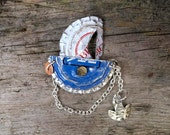 Upcycled Blue Sailing Boat Brooch with anchor, (made from bottle tops)