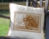 Whimsical Elephant Opera Box Glasses Digital Image Download Transfer To Pillows Tote Tea Towels No. 1087 SEPIA