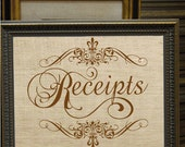 Receipts Word Text Typography in Frame Digital Image Download Transfer To Pillows Tote Tea Towels No. 2280 SEPIA