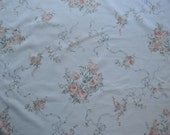 Vintage Sheet Fat Quarter, Pink Roses with Gray Ribbons