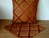 """Set of 2 Handmade Cushion Covers 18"""" inches, Zip in Bottom, Same fabric front and back. Rust Colours."""