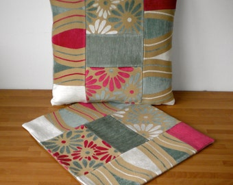 Stock Clearance. Set of 2 Handmade Patchwork Cushion Covers to fit 16 inch pad, Zip in Bottom, Plain cotton back.