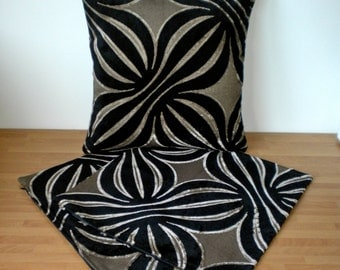 "Set of 3 Handmade Cushion Covers 16"" inches, Zip in Bottom, Same fabric front and back. Black and Brown."