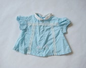 vintage BABY BLUE DRESS Blouse White Dogs and Lace 3/6m