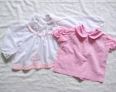 vintage SET OF 2 SHIRTS Pink and White Peter Pan Collar (12m)