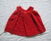 vintage BRIGHT RED VELVET Tank Dress Full Skirt 3/6 Months