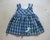 vintage kids ART SCHOOL DRESS Plaid Blue Green 12 Months