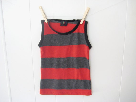 vintage HIPSTER STRIPED TANK Red and Grey RockNRoll (Size 5)